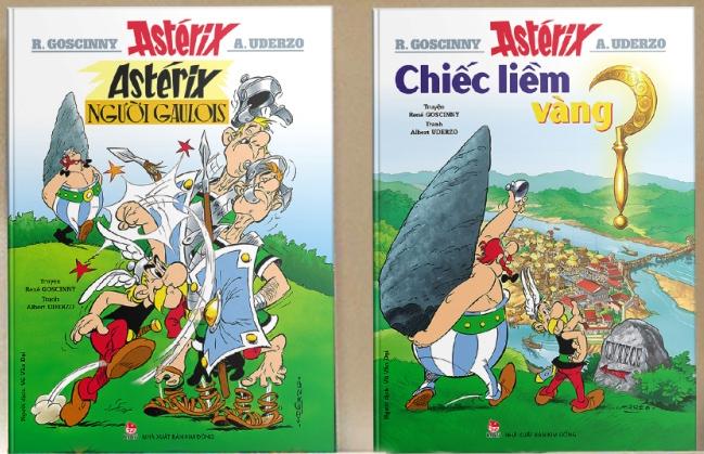 Hai tập đầu tiên của bộ truyện gồm: Astérix Người Gaulois, Chiếc Liềm Vàng.
