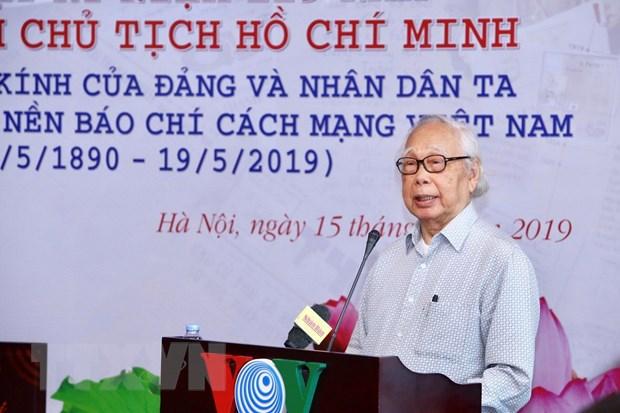 Nhà báo, Nhà văn lão thành Phan Quang, tác giả của cuốn sách 'Bác Hồ - Người có nhiều duyên nợ với báo chí' phát biểu tại Lễ ra mắt.