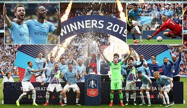 Man City lập nên kỳ tích chưa từng có ở Anh sau khi giành FA Cup mùa này.