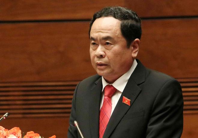 Chủ tịch Ủy ban Trung ương Mặt trận Tổ quốc Việt Nam Trần Thanh Mẫn trình bày Báo cáo tổng hợp ý kiến, kiến nghị của cử tri và nhân dân cả nước gửi đến kỳ họp thứ 7 Quốc hội khóa XIV.