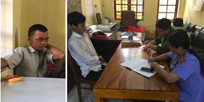 Hai đối tượng Đồng Văn Bộ (trái) và Lý A Páo (phải) đang bị tam giam và trả lời cơ quan điều tra.