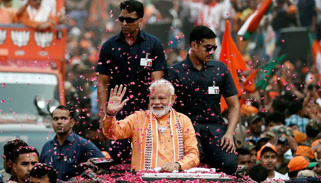 Thủ tướng Ấn Độ Narendra Modi ăn mừng chiến thắng bầu cử ngày 23/5