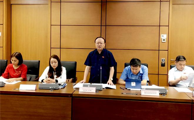 Đại biểu Quốc hội Già ng A Chu - Phó chủ tịch Hội đồng Dân tộc phát biểu tại phiên thảo luận ở tổ sáng 22/5.