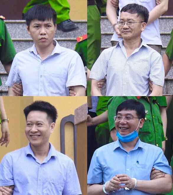 Các bị cáo Đỗ Mạnh Tuấn, Nguyễn Quang Vinh, Nguyễn Khắc Tuấn, Khương Ngọc Chất tại tòa.