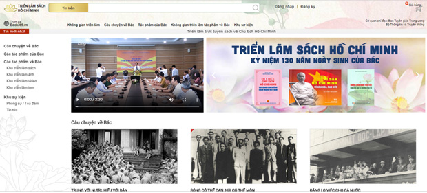 Ảnh chụp màn hình trang web Triển lãm sách kỷ niệm 130 năm Ngày sinh Chủ tịch Hồ Chí Minh.