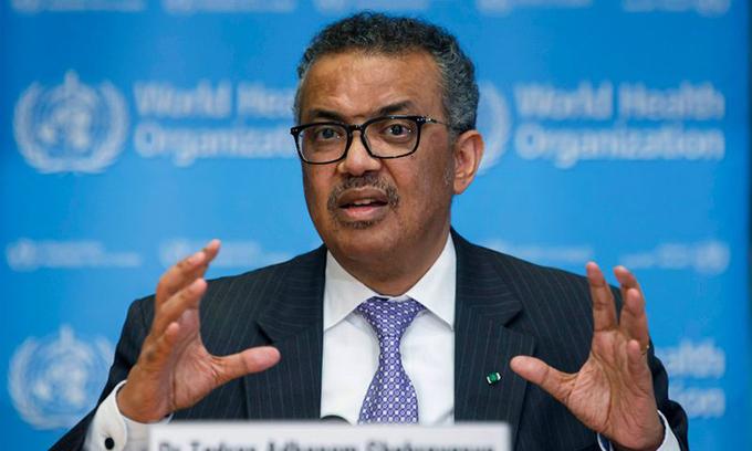 Tổng giám đốc WHO Tedros Adhanom Ghebreyesus phát biểu tại một hội nghị ở Geneva, Thuỵ Sĩ, ngày 9/3.