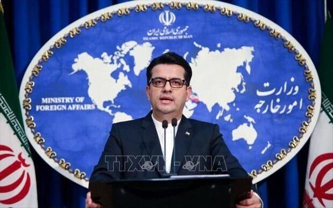 Người phát ngôn Bộ Ngoại giao Iran Abbas Mousavi phát biểu tại cuộc họp báo ở Tehran.