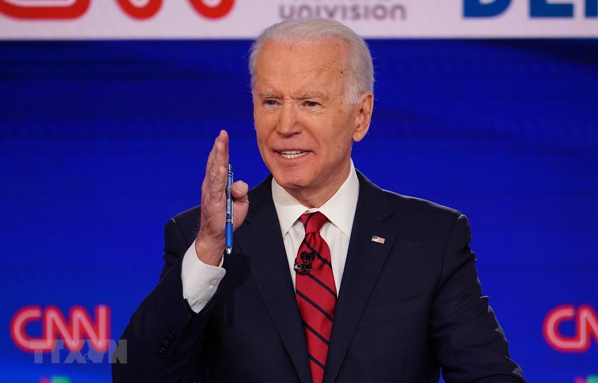 Cựu Phó Tổng thống Mỹ Joe Biden phát biểu trong cuộc tranh luận trực tiếp trên truyền hình ở Washington, DC ngày 15/3/2020.