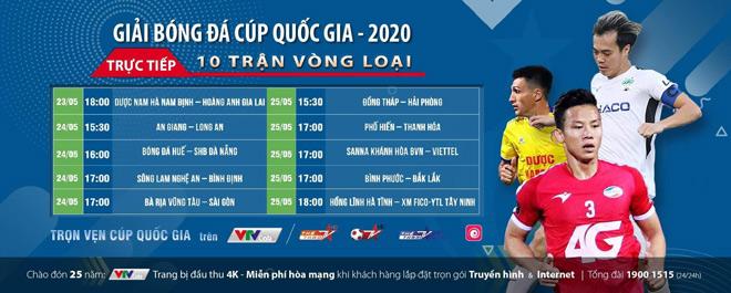 Chi tiết các trận đấu vòng loại cúp quốc gia 2020 được các đài truyền hình tại Việt Nam trực tiếp