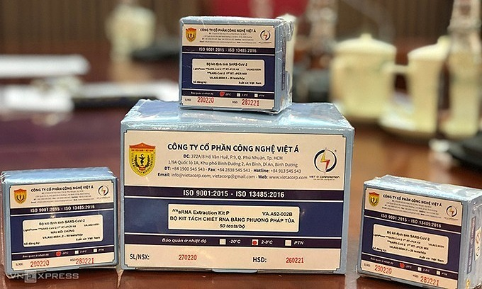 Boxes of Vietnam's Covid-19 test kits, developed by the Vietnam Military Medical University and the Viet A Technologies joint Stock Company.