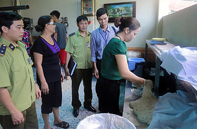 Authorities inspect a food production and trading establishments in the locality.
