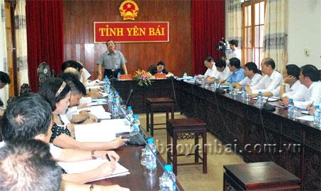 Thứ trưởng Huỳnh Văn Tí phát biểu tại buổi làm việc với UBND tỉnh Yên Bái.