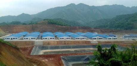 Khu chăn nuôi lợn giống công nghệ cao của Tập đoàn Hòa Phát tại xã Lương Thịnh, huyện Trấn Yên.