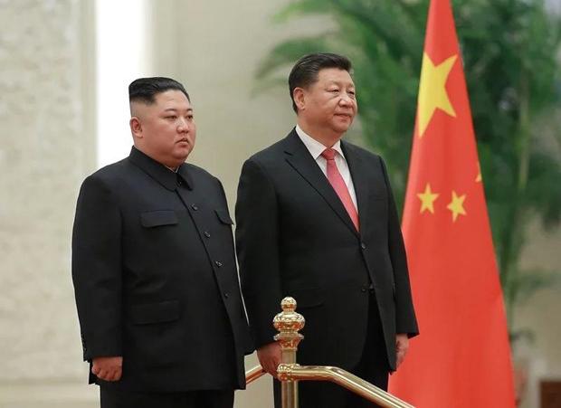 Chủ tịch Trung Quốc Tập Cận Bình và nhà lãnh đạo Triều Tiên Kim Jong-un trong cuộc gặp tại Bắc Kinh hồi tháng 1/2019.