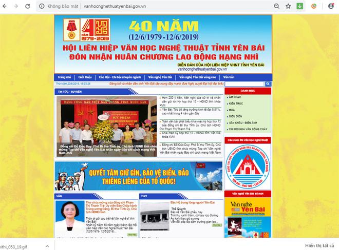 Giao diện Trang VHNT Yên Bái điện tử tại địa chỉ http://vanhocnghethuatyenbai.gov.vn trên internet.