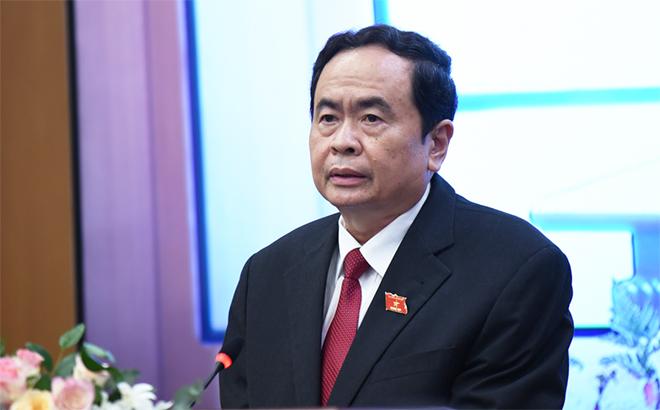 Ông Trần Thanh Mẫn - Ủy viên Bộ Chính trị, Phó Chủ tịch Thường trực Quốc hội, Phó Chủ tịch Thường trực HĐBCQG phát biểu khai mạc họp báo