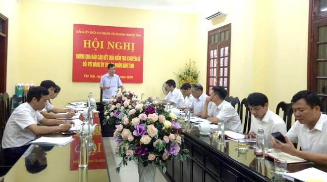 Đồng chí Đỗ Quang Minh - Bí thư Đảng ủy Khối cơ quan và doanh nghiệp tỉnh phát biểu kết luận công tác kiểm tra chuyên đề tại Đảng bộ Tòa án nhân dân tỉnh.