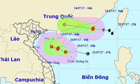 Vị trí và hướng di chuyển của bão số 3 (hình trên) và áp thấp nhiệt đới.
