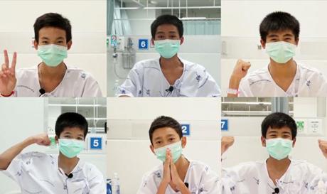 Các thành viên trong đội bóng Lợn Rừng đang được chăm sóc tại bệnh viện ở Chiang Rai