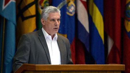 Chủ tịch Cuba Miguel Diaz-Canel phát biểu trong một phiên họp tại thủ đô Havana hôm 17/7.
