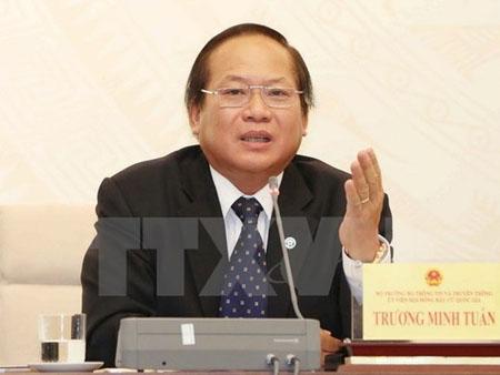 Bộ trưởng Bộ Thông tin và Truyền thông Trương Minh Tuấn bị tạm đình chỉ công tác.