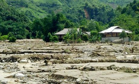 Sau trận mưa lũ kinh hoàng vào rạng sáng 20/7, nhiều cánh đồng lúa ở Phong Dụ Thượng  bỗng biến thành