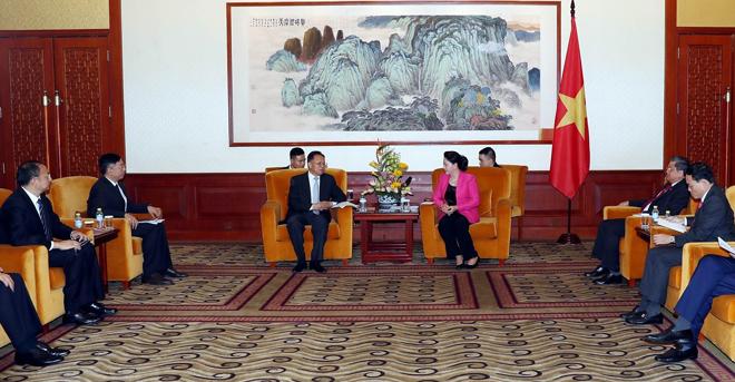 Chủ tịch Quốc hội Nguyễn Thị Kim Ngân tiếp Chủ tịch HĐQT Tập đoàn xây dựng năng lượng Trung Quốc.
