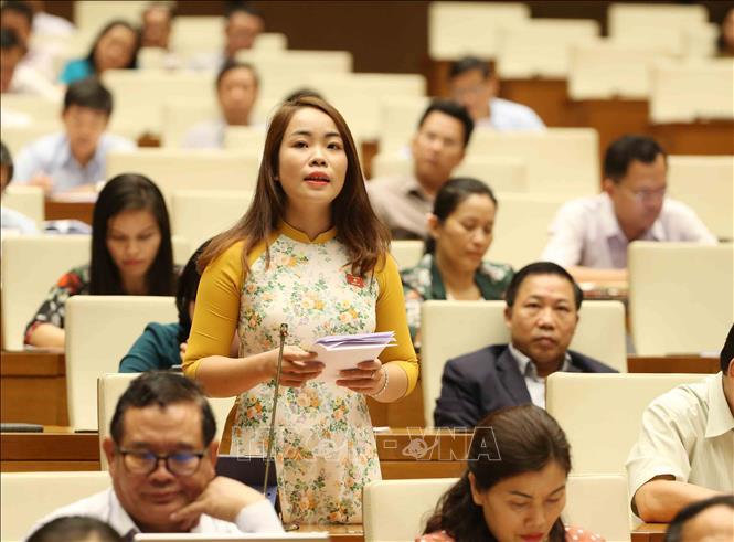 Đại biểu Quốc hội tỉnh Yên Bái Triệu Thị Huyền phát biểu tại kỳ họp thứ bảy, Quốc hội khóa XIV. Ảnh minh họa