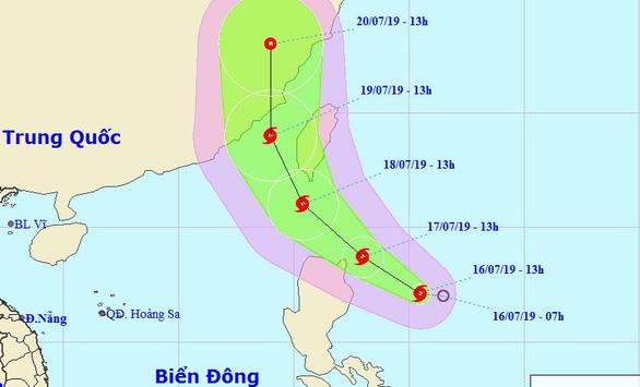 Đường đi của bão Danas. (Ảnh: Trung tâm Khí tượng thủy văn Quốc gia).