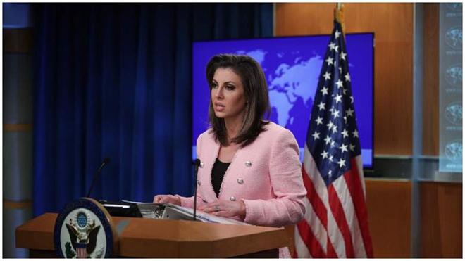 Người phát ngôn Bộ Ngoại giao Mỹ Morgan Octagus.