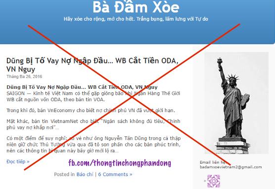 Phạm Thành xuyên tạc trên blog Bà Đầm Xoè