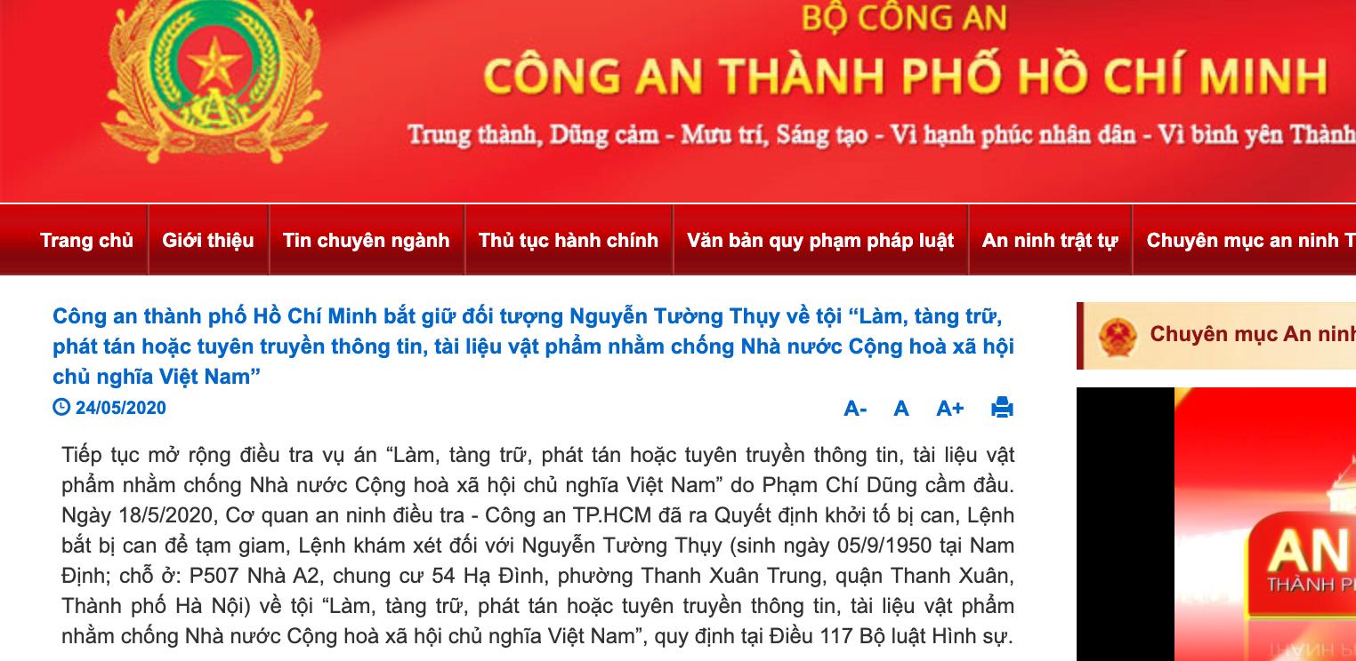 Công an TPHCM bắt giữ Nguyễn Tường Thuỵ. Ảnh chụp màn hình của Báo Lao động