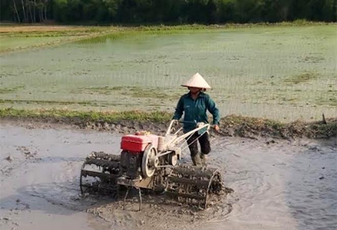 Nông dân xã Vĩnh Kiên làm đất cấy lúa trà 2.