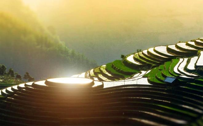 Vẻ đẹp của ruộng bậc thang thu hút khách du lịch.