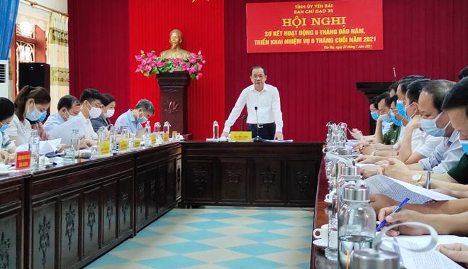 Đồng chí Tạ Văn Long – Phó Bí thư Thường trực Tỉnh ủy, Chủ tịch HĐND tỉnh, Trưởng Ban Chỉ đạo 35 tỉnh Yên Bái chủ trì Hội nghị.