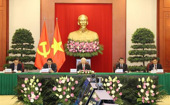 General Secretary of the Communist Party of Vietnam Central Committee Nguyen Phu Trong (centre) speaks at the Communist Party of China and World Political Parties Summit on July 6.