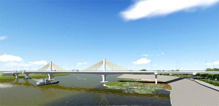 Cầu Bách Lẫm - một trong 10 công trình trọng điểm của tỉnh sẽ khánh thành vào quý I/2018.