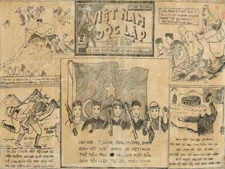 Họa bản báo Việt Nam Độc Lập - cơ quan tuyên truyền của Việt Minh Cao-Bắc-Lạng, năm 1945. (Ảnh: Bảo tàng Lịch sử Quốc gia).