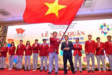 Đoàn thể thao Việt Nam làm lễ xuất quân.