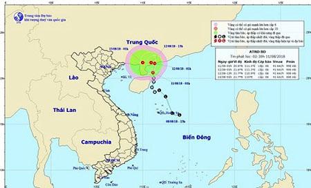 Áp thấp nhiệt đới trên biển Đông.