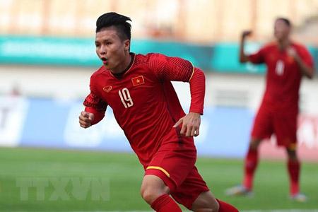 Cầu thủ Quang Hải ăn mừng sau khi ghi bàn thắng mở tỷ số cho U23 Việt Nam.