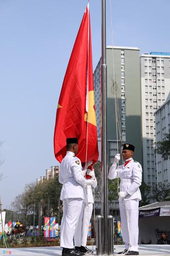 Nghi lễ thượng cờ của Đoàn Thể thao Việt Nam tại ASIAD 2018.