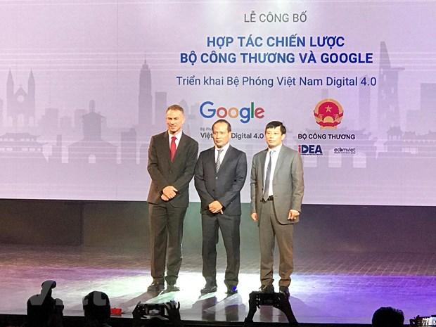 Lãnh đạo Bộ Công Thương và đại diện Google tại lễ công bố hợp tác mở rộng chương trình Bệ Phóng Việt Nam Digital 4.0.