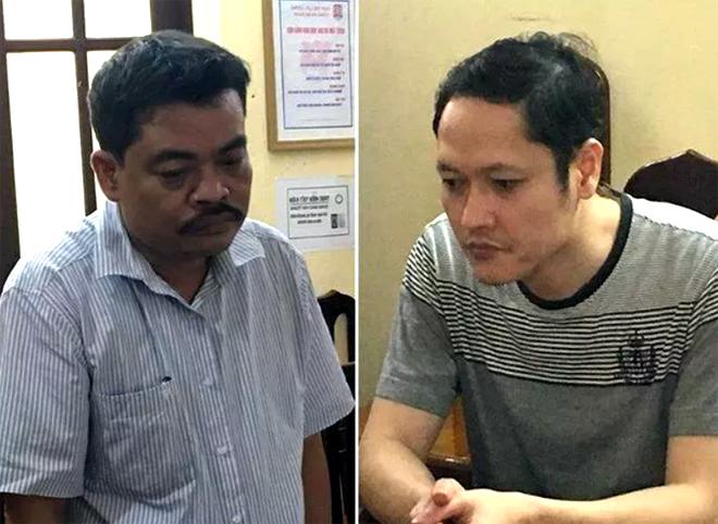 Bị can Nguyễn Thanh Hoài (trái) và bị can Vũ Trọng Lương đang bị tạm giam.