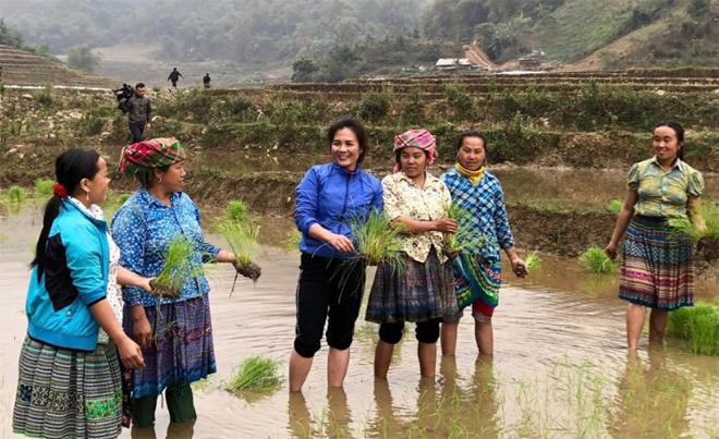 Chị Lưu Thị Quế - Chủ tịch Hội Phụ nữ huyện Trạm Tấu (thứ 3, trái sang) vận động chị em thôn Háng Tây, xã Pá Lau hỗ trợ nhau cấy lúa vụ mùa.