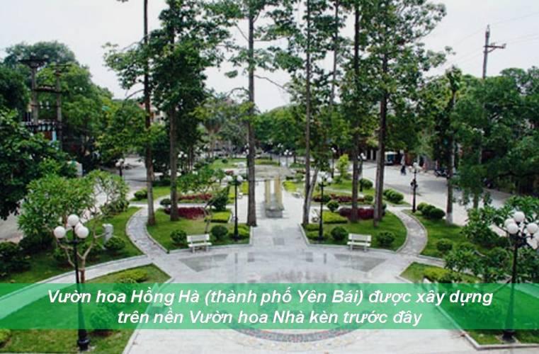 Vườn hoa Hồng Hà, thành phố Yên Bái được xây dựng trên nền Vườn hoa Nhà kèn năm xưa. (Ảnh: Internet)