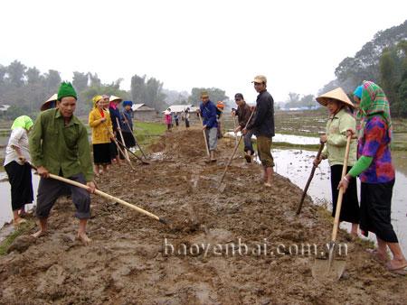 Người dân xã Nghĩa Lợi tham gia làm đường giao thông nông thôn