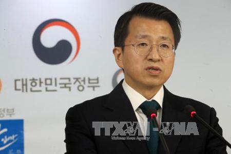 Người phát ngôn Bộ Thống nhất Hàn Quốc Baek Tae-hyun phát biểu tại thủ đô Seoul ngày 14-9.