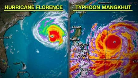 Hình ảnh vệ tinh hôm 12-9, so sánh quy mô của hai cơn bão Mangkhut và Florence.
