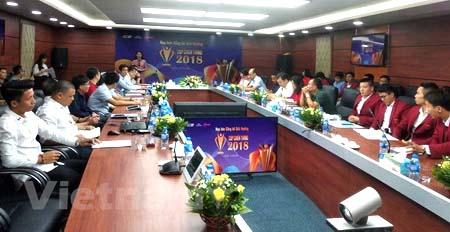 Quang cảnh buổi họp báo công bố giải thưởng Cúp Chiến thắng 2018.